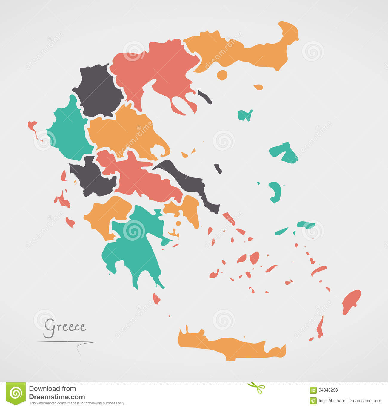 Greece map with states and modern round shapes stock vector download comp gumiabroncs Image collections