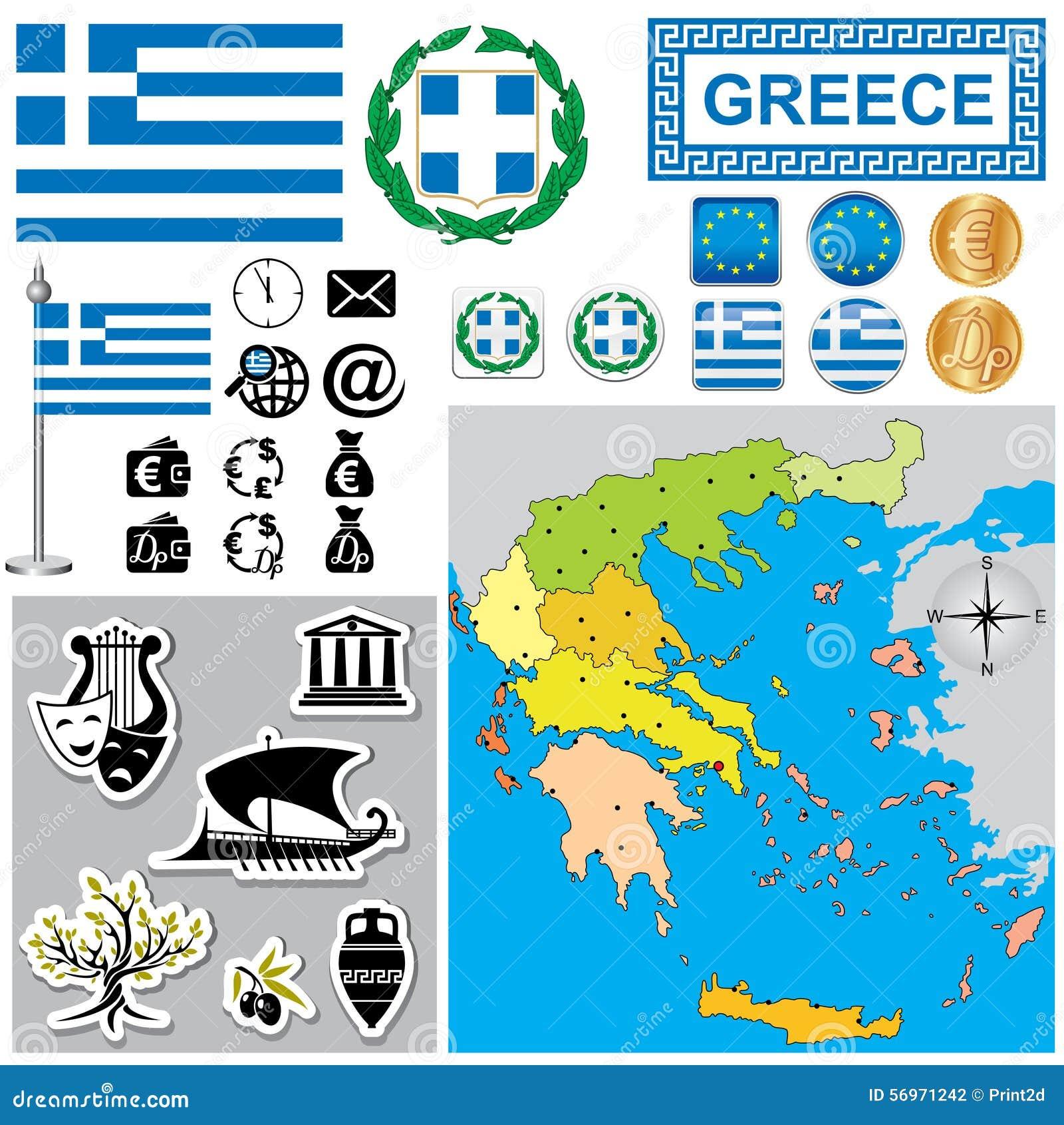 Greece Map Stock Vector Illustration Of Coat Berlin 56971242