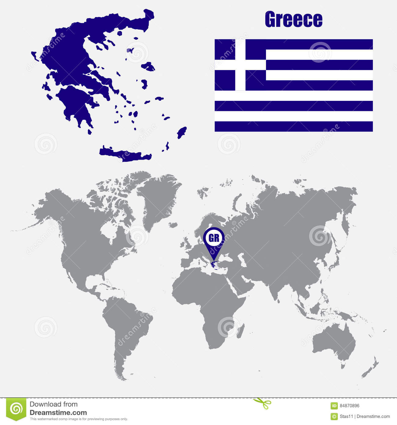 Greece Map On A World Map With Flag And Map Pointer. Vector ...