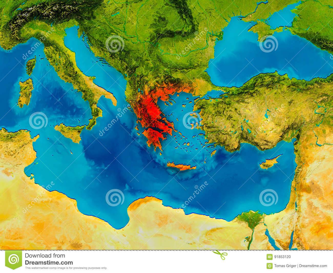 Greece on physical map stock illustration. Illustration of europe ...
