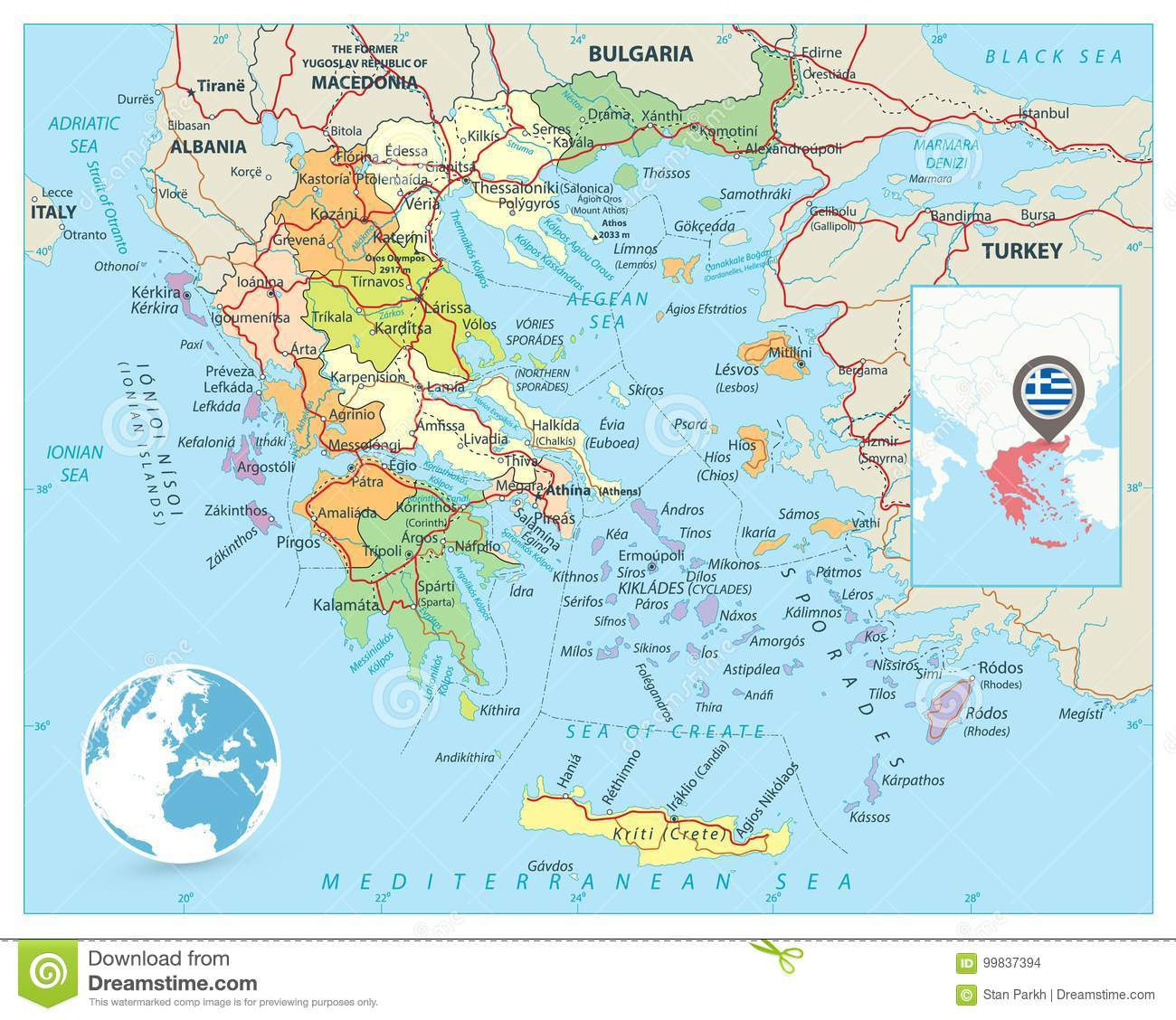 Detailed Map Of Greece on
