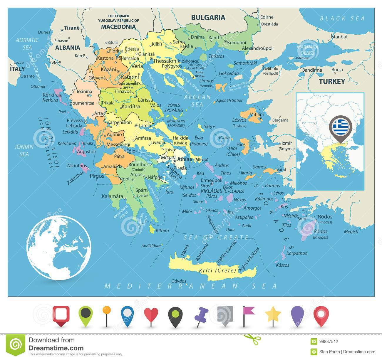 Greece Political Map And Flat Map Markers Stock Vector