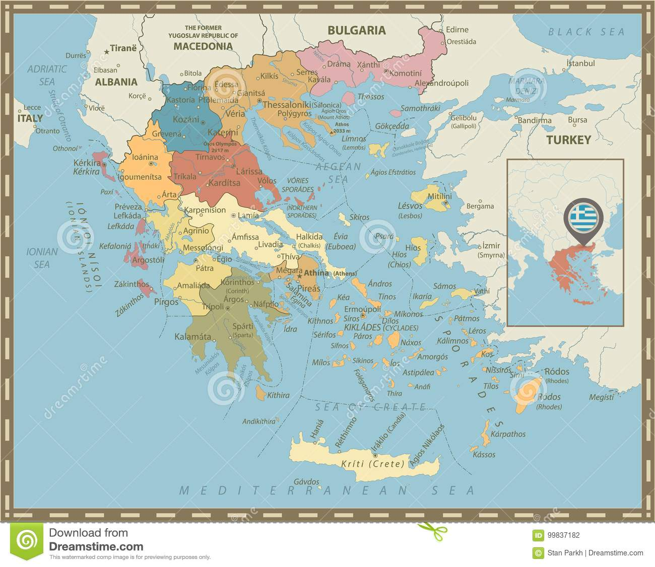 Greece Political Map Vintage Colors Stock Vector - Illustration of ...