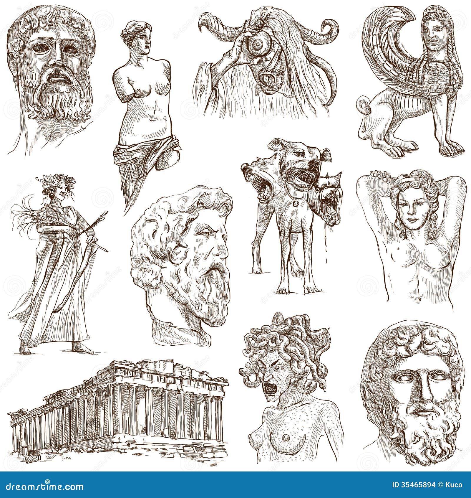 Greek Sphinx Drawing -...
