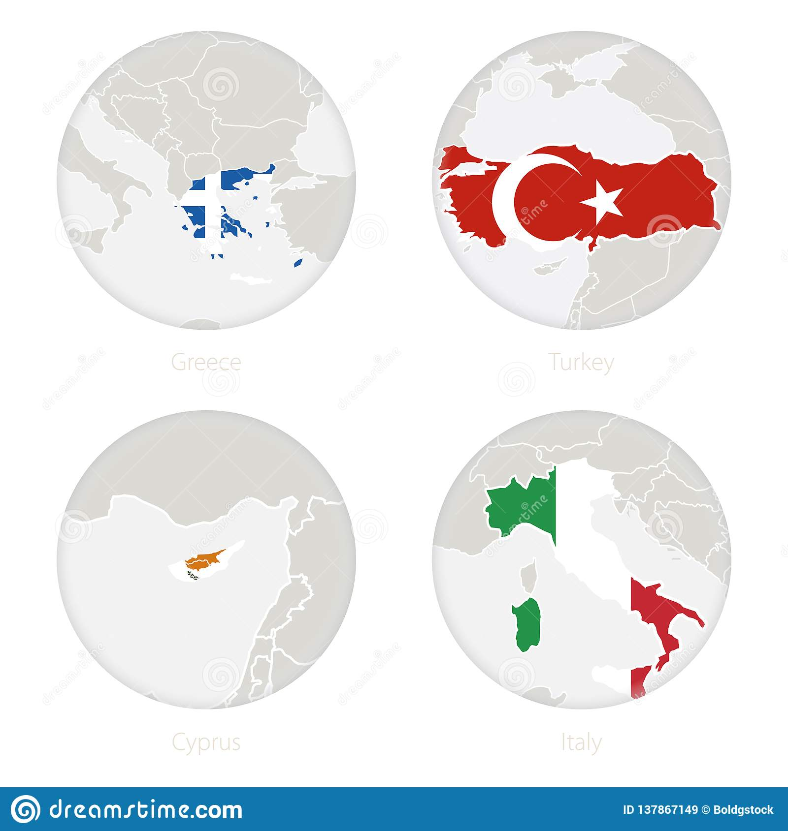 Greece, Turkey, Cyprus, Italy Map Contour And National Flag In A ...