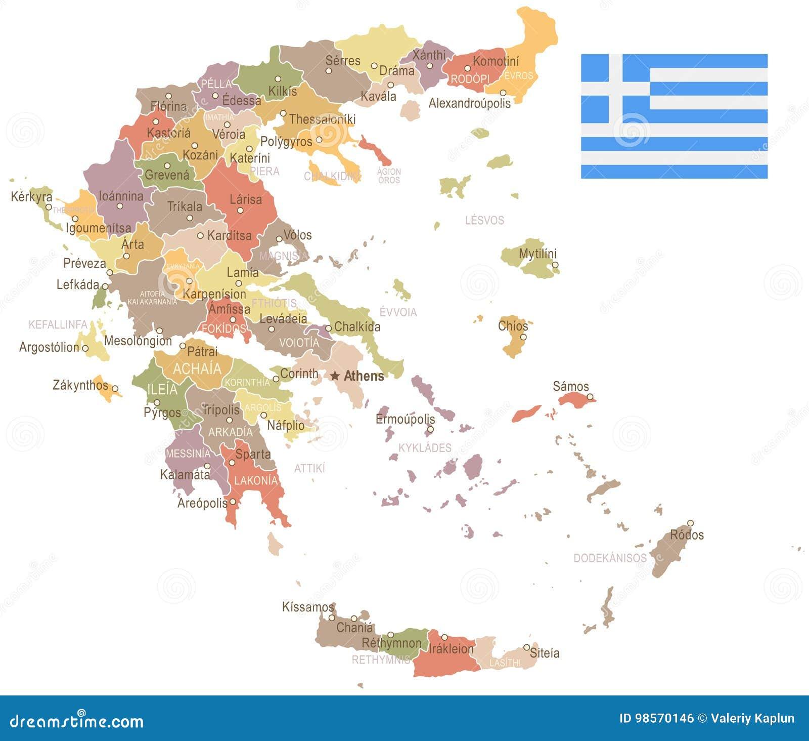 Greece - Vintage Map And Flag - Illustration Stock Illustration ...
