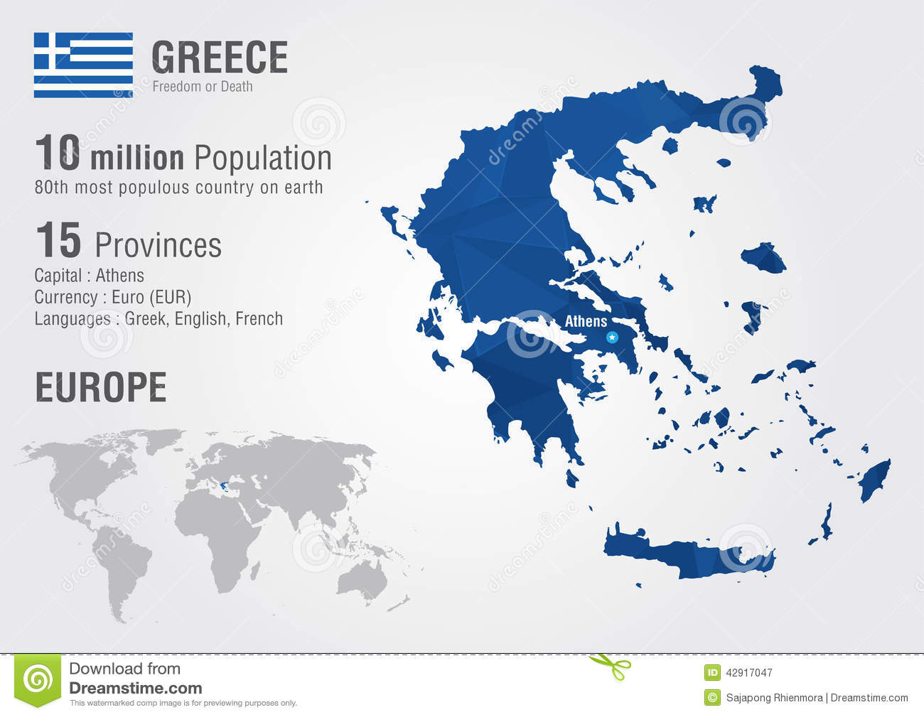 Greece world map with a pixel diamond texture stock vector greece world map with a pixel diamond texture gumiabroncs Images
