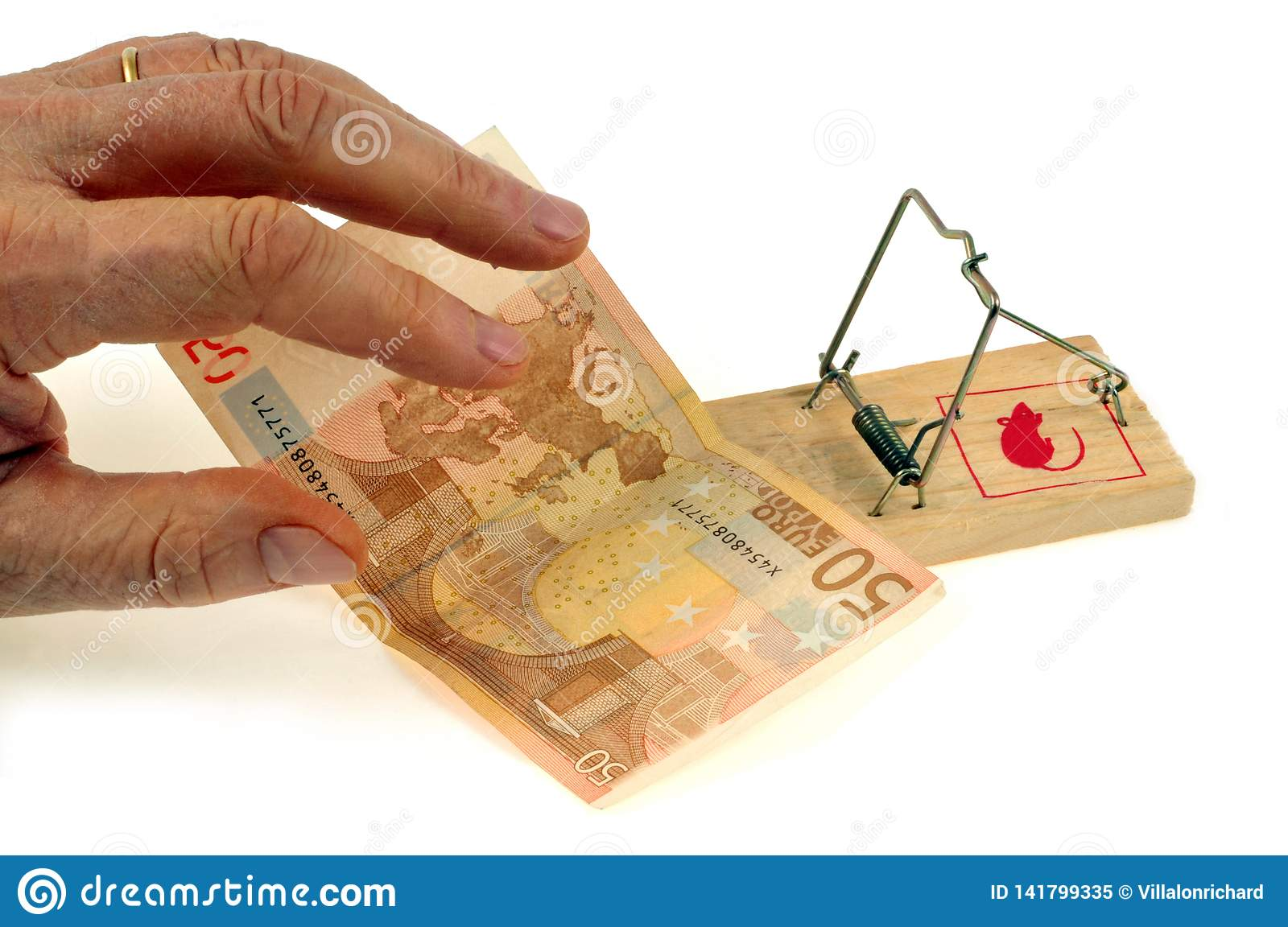 A fifty euro note placed on a mousetrap