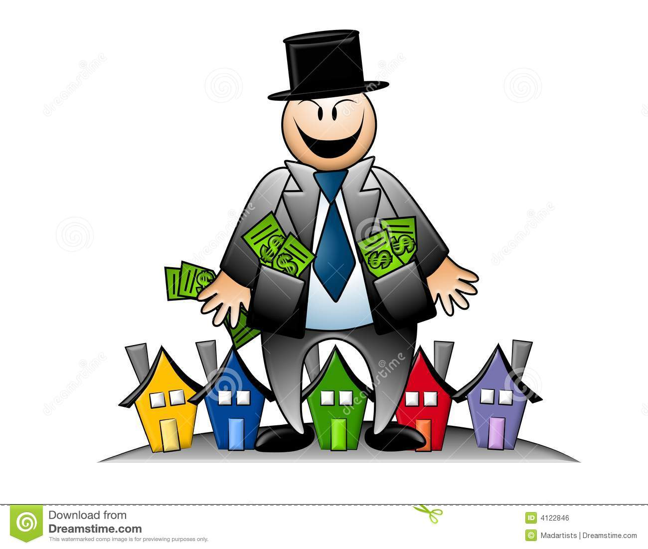 greedy images greedy banker with money and houses stock illustration 8501