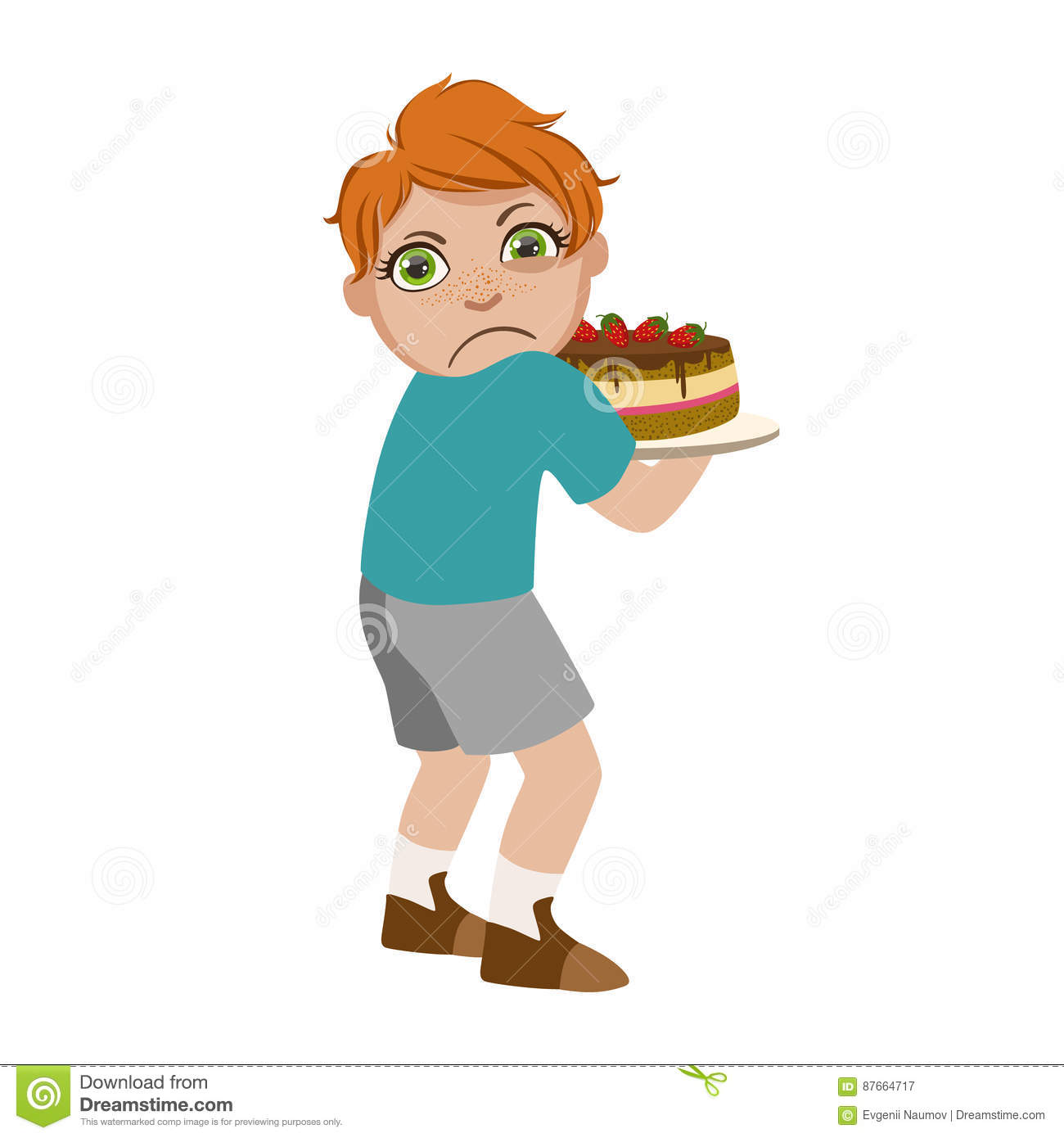 Greedy Boy Not Sharing Cake, Part Of Bad Kids Behavior And Bullies Series Of Vector Illustrations With Characters Being