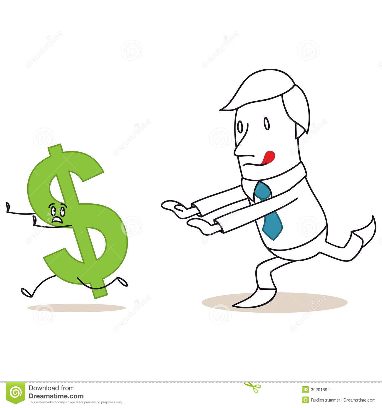 Greedy Cartoon Businessman Chasing Dollar Sign Stock Vector Image