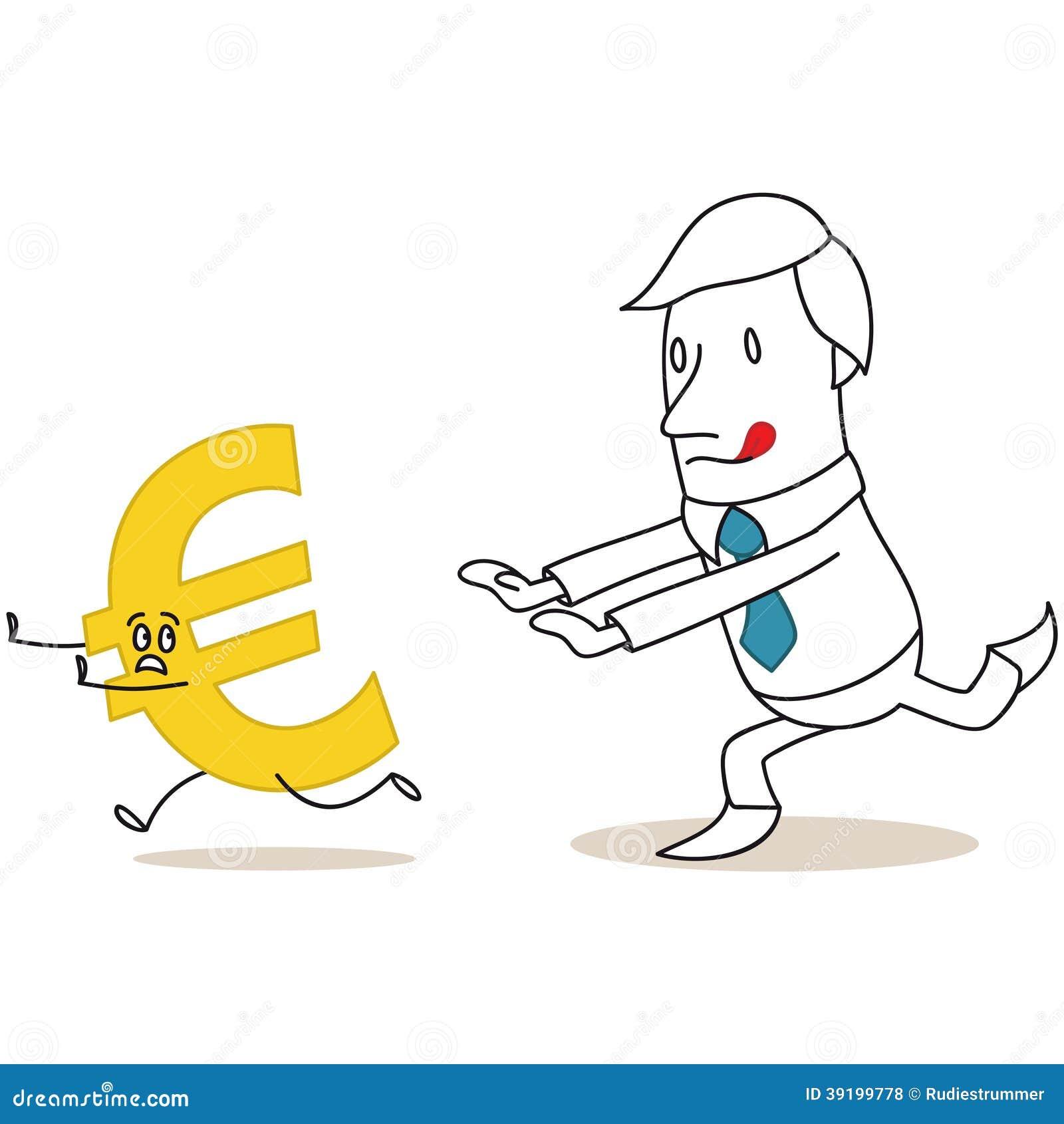 Greedy Cartoon Businessman Chasing Euro Sign Stock Vector