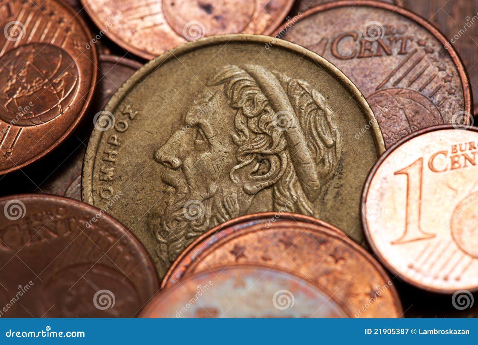 Greek 50 Drachmas Coin Among Euro Coins Stock Image Image Of Metal Historic 21905387