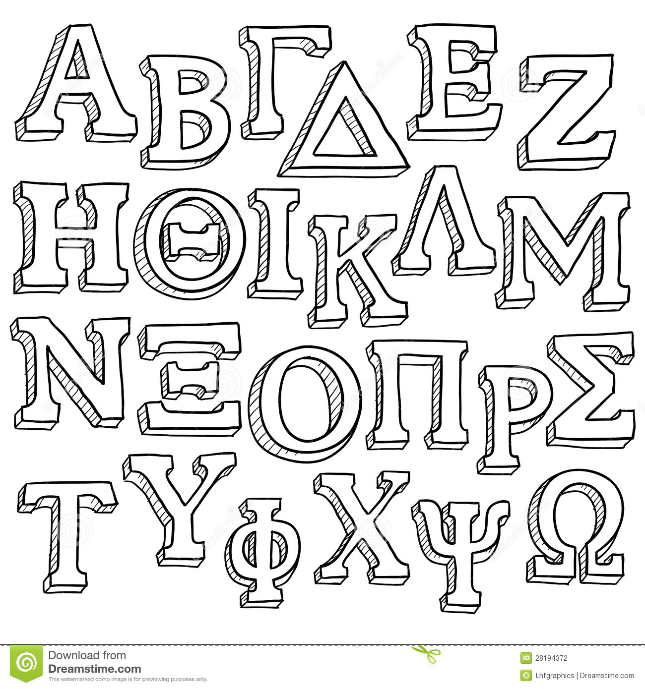 greek alphabet sketch