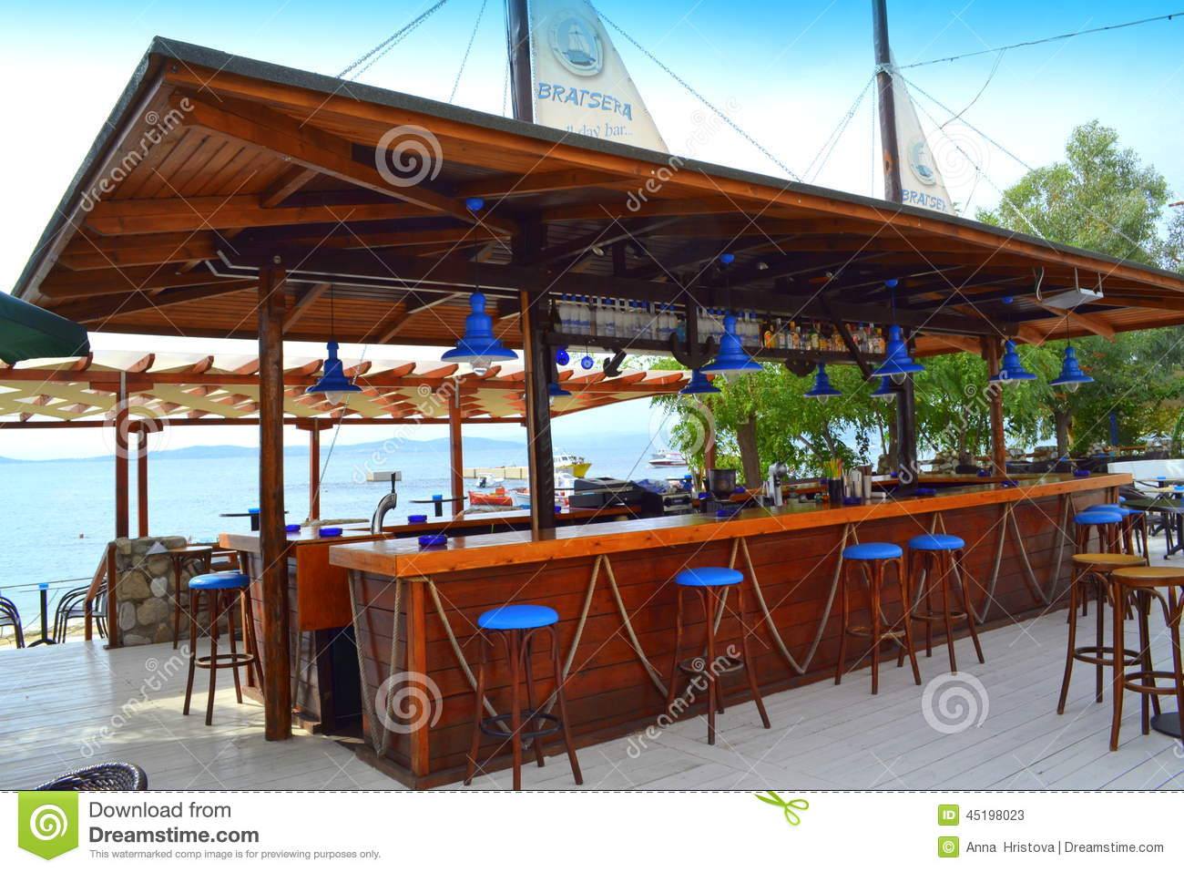 Greek beach bar editorial stock photo image of beverages - Image of bar ...