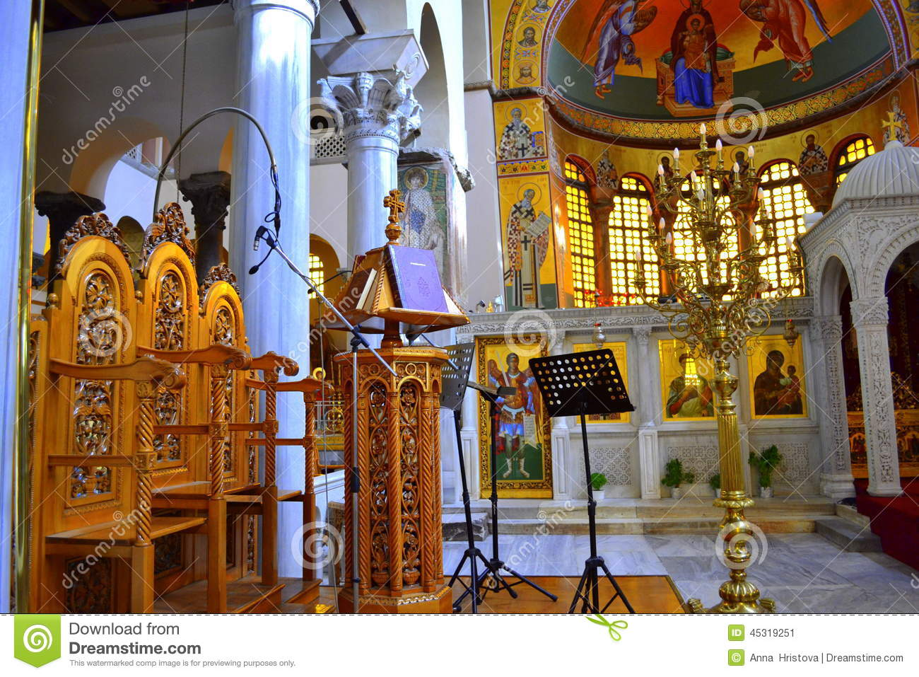 Greek Church Pulpit Stock Photo - Image: 45319251