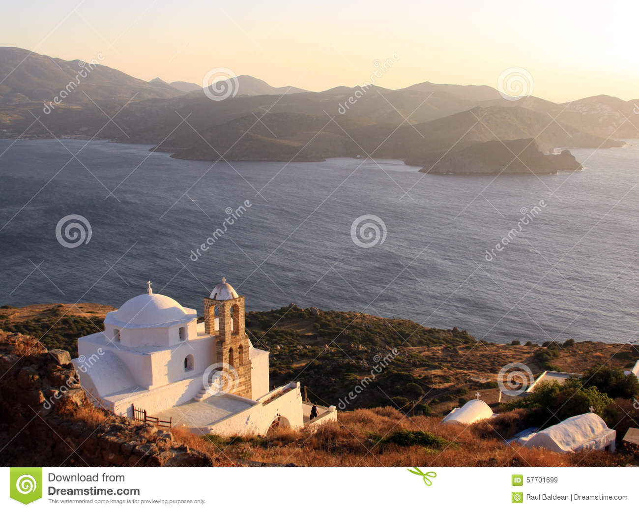 Greek church at sunset on Milos island