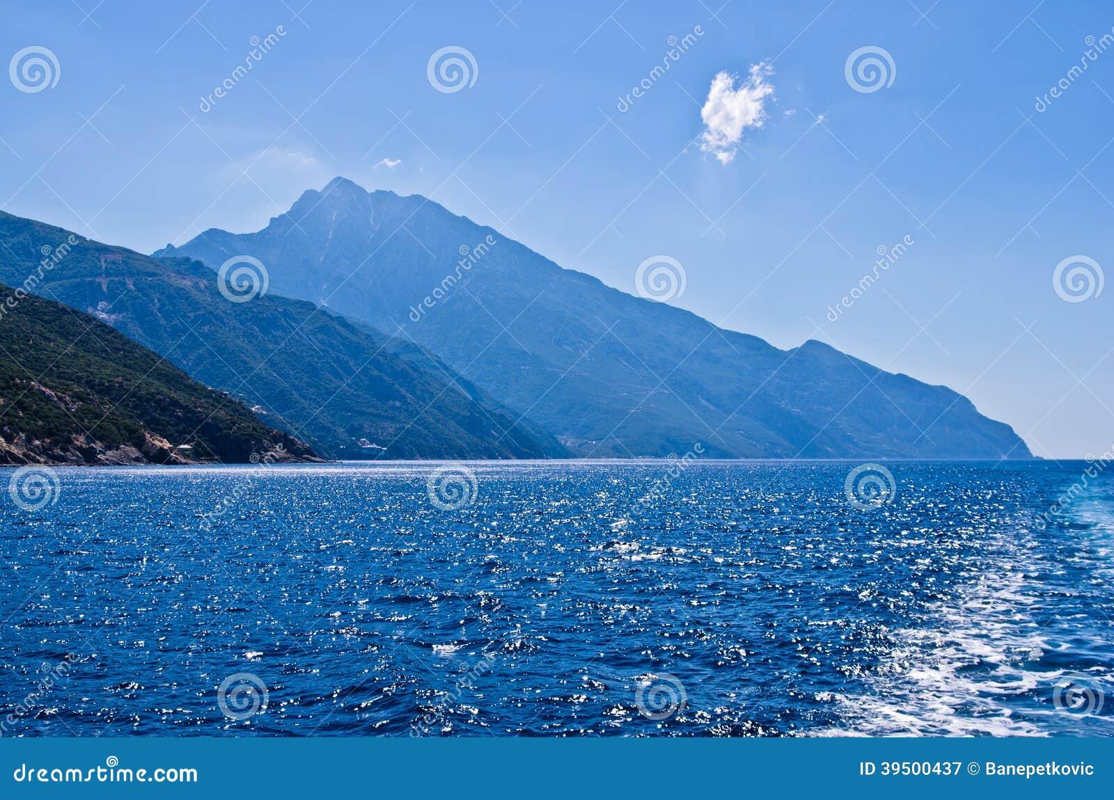 Greek coast of aegean sea near holy mountain Athos
