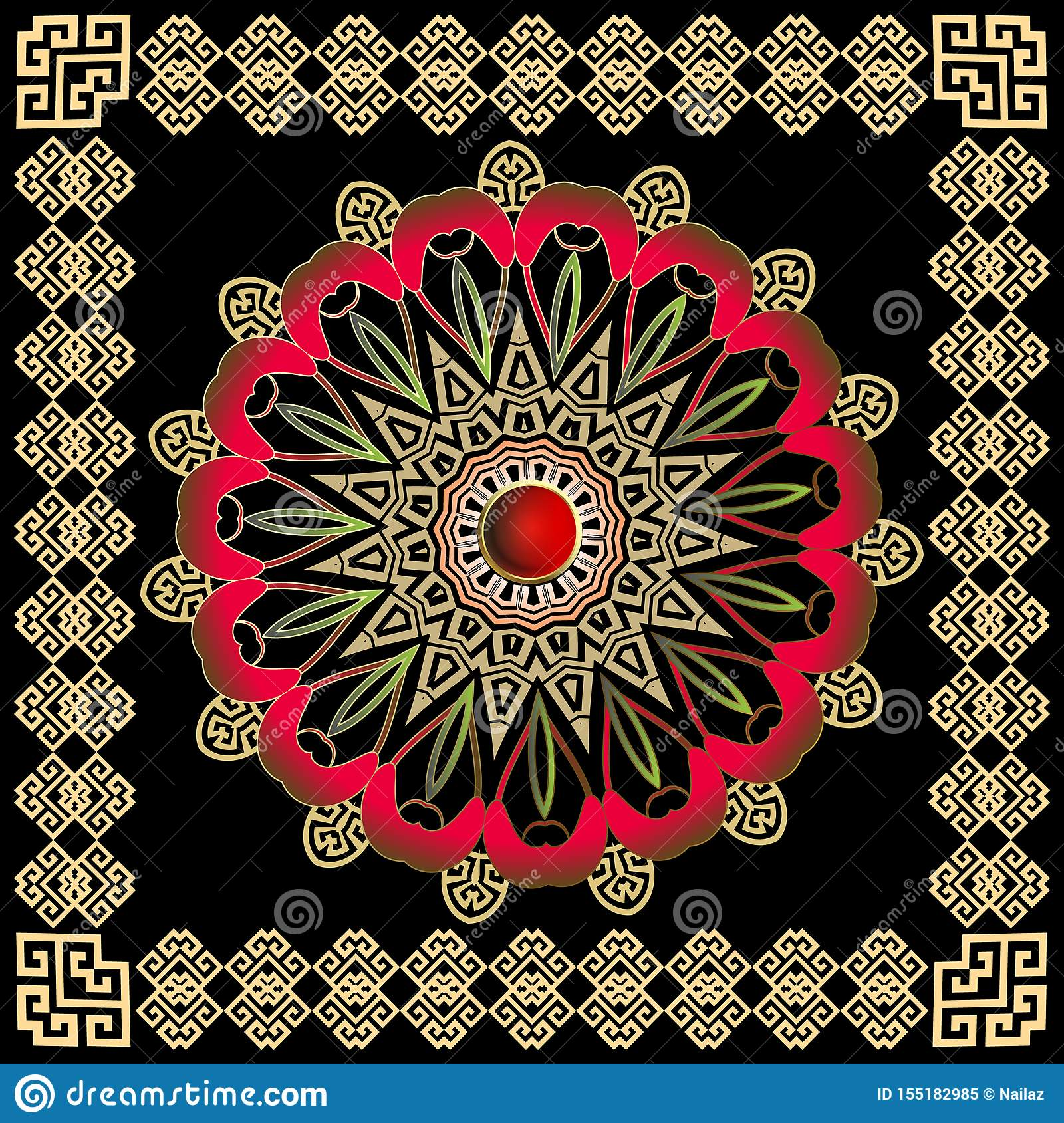 Greek colorful round vector mandala pattern with square frame. Tribal ethnic style decorative background.