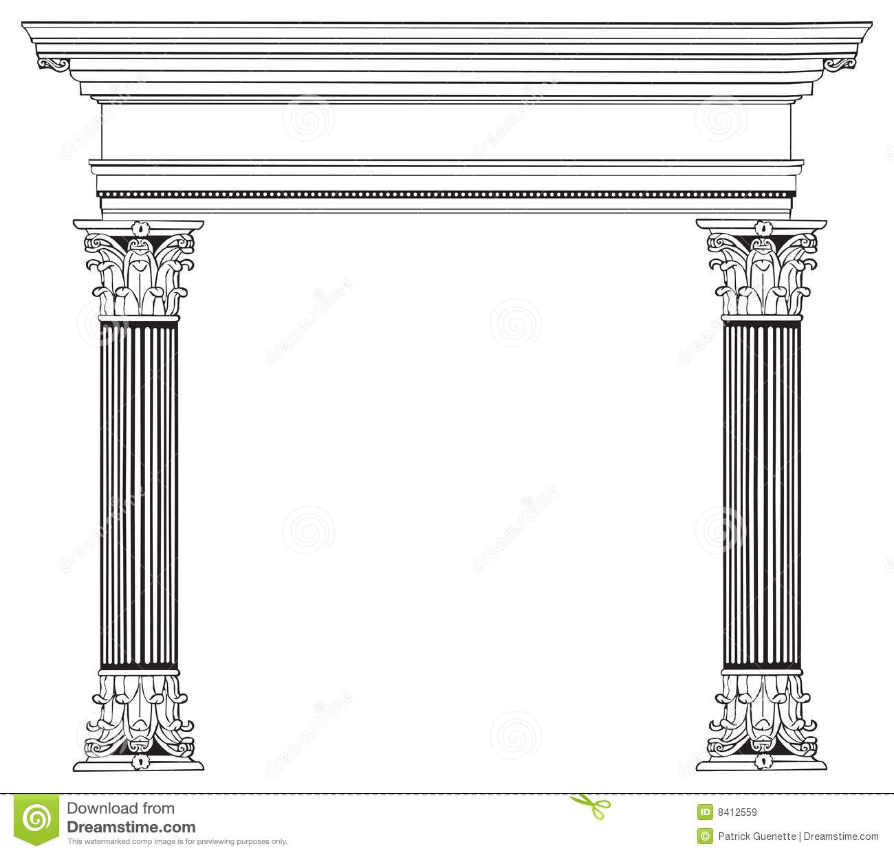 Greek Column and Arch  Greek Architecture Clipart