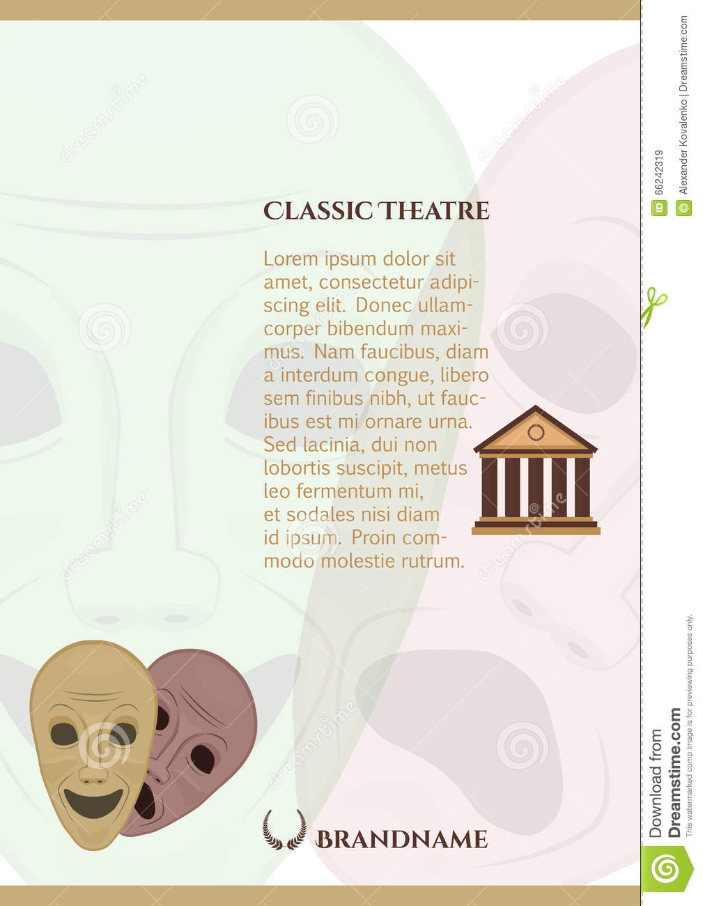 download greek comedy and tragedy masks pamphlet template stock vector illustration of greek