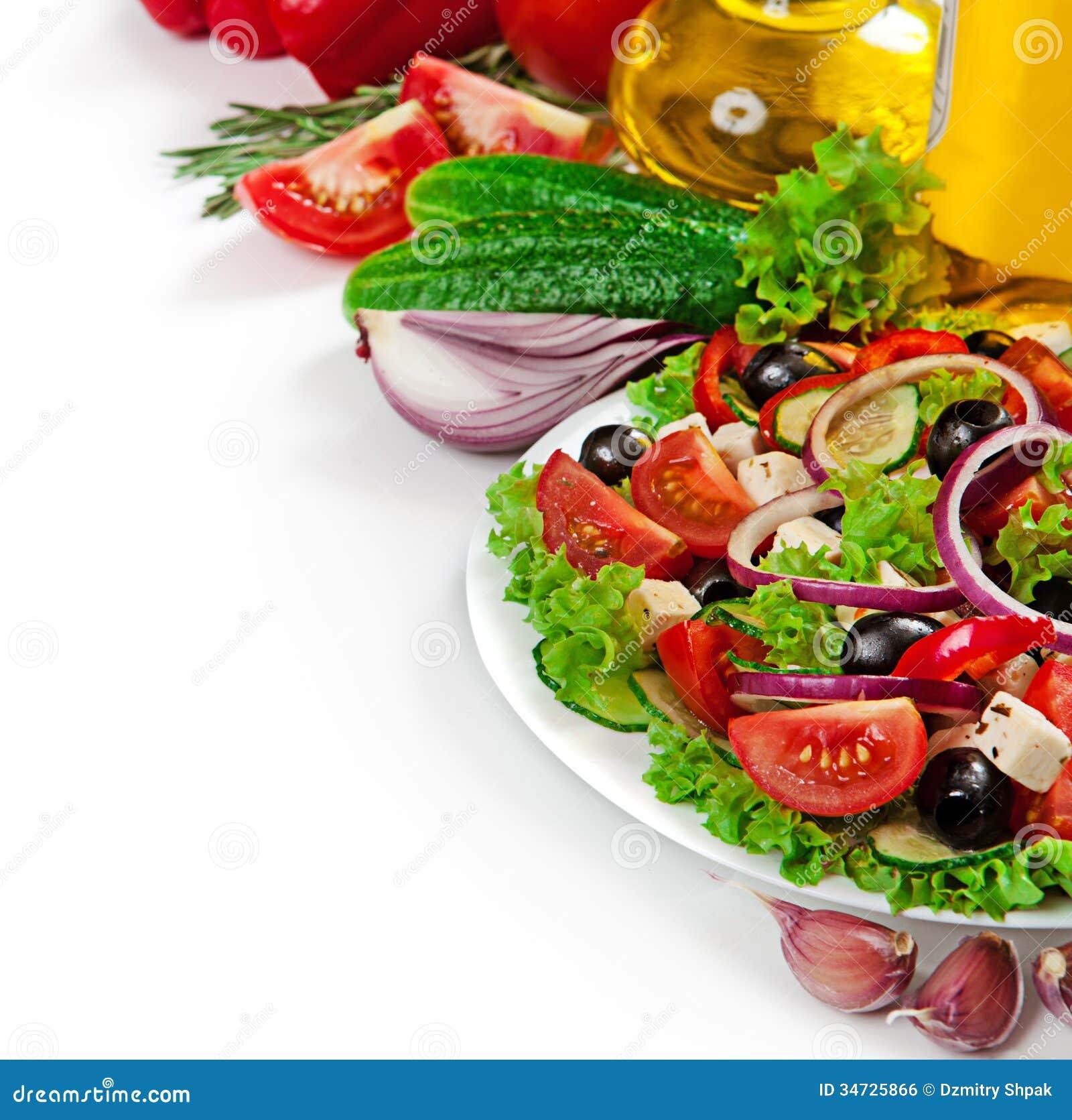 Greek cuisine fresh vegetable salad isolated stock photo - Image cuisine ...