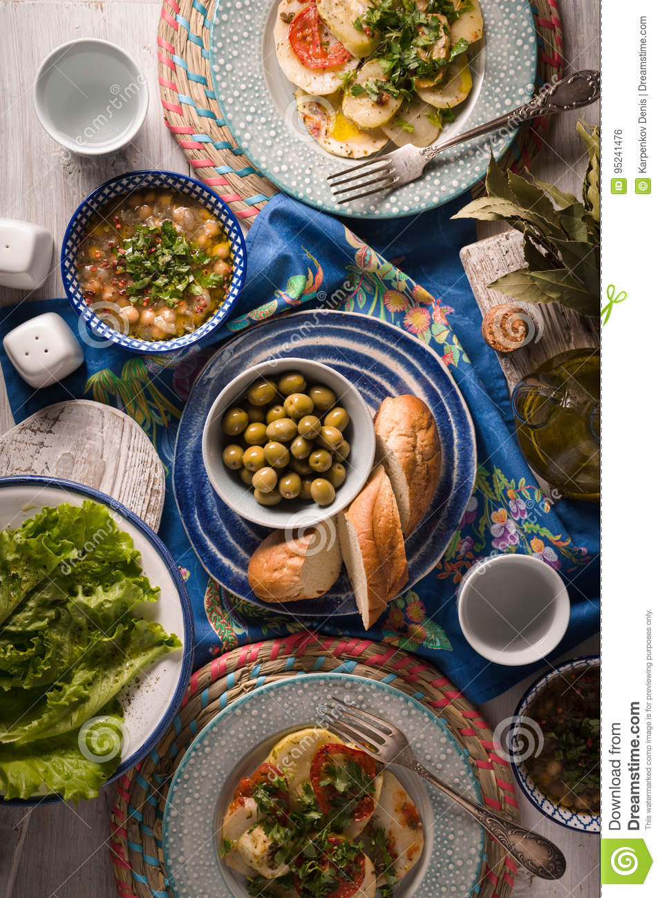 Greek Dinner With Traditional Dishes On The White Table Vertical Stock Photo Image Of Beige Mediterranean 95241476