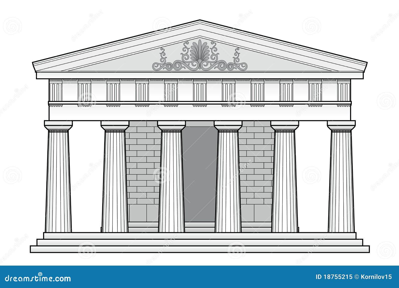 Рисунок собора с колоннами