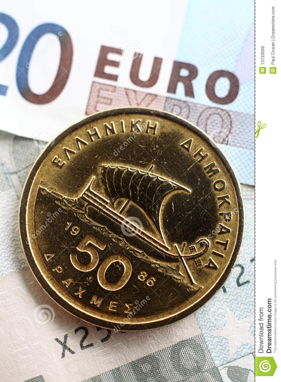 Greek Drachma On Euros Vertical Royalty Free Stock Images Image 13133099