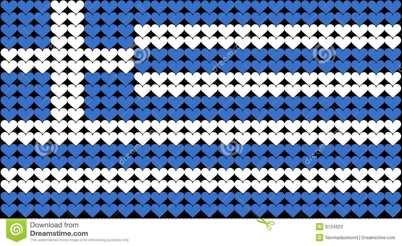 An illustration of the Greek flag composed of hearts. .