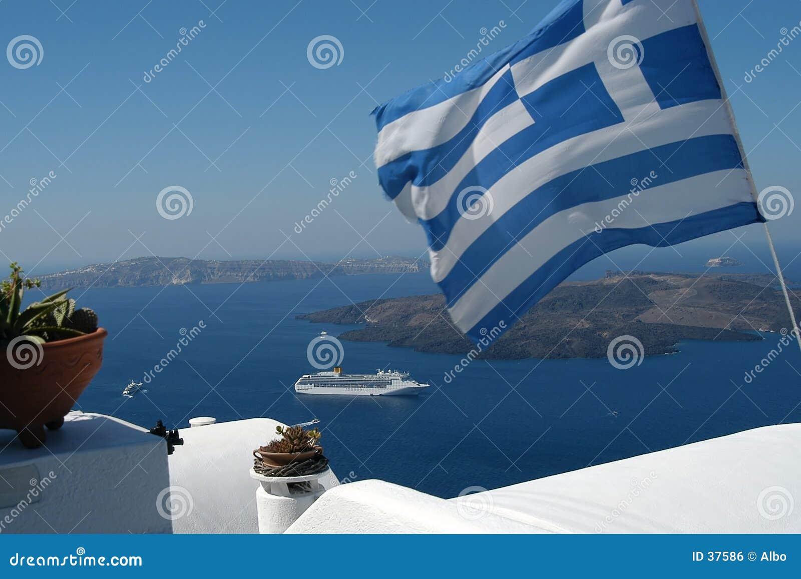 Greek flag and the sea