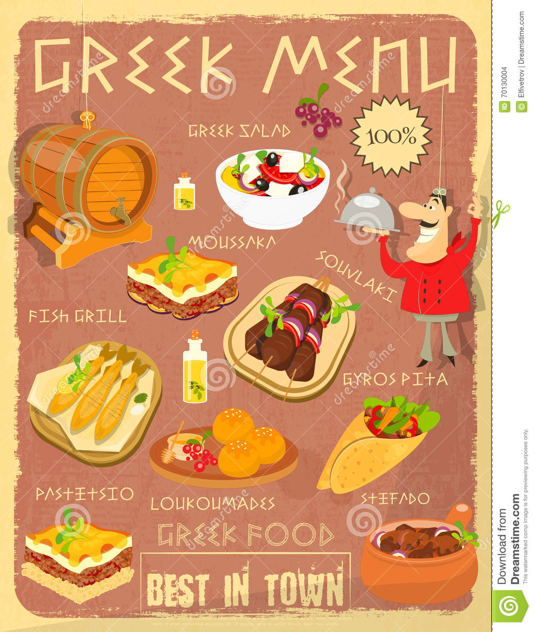 Greek food menu stock vector image 70130004 for Conception cuisine snack