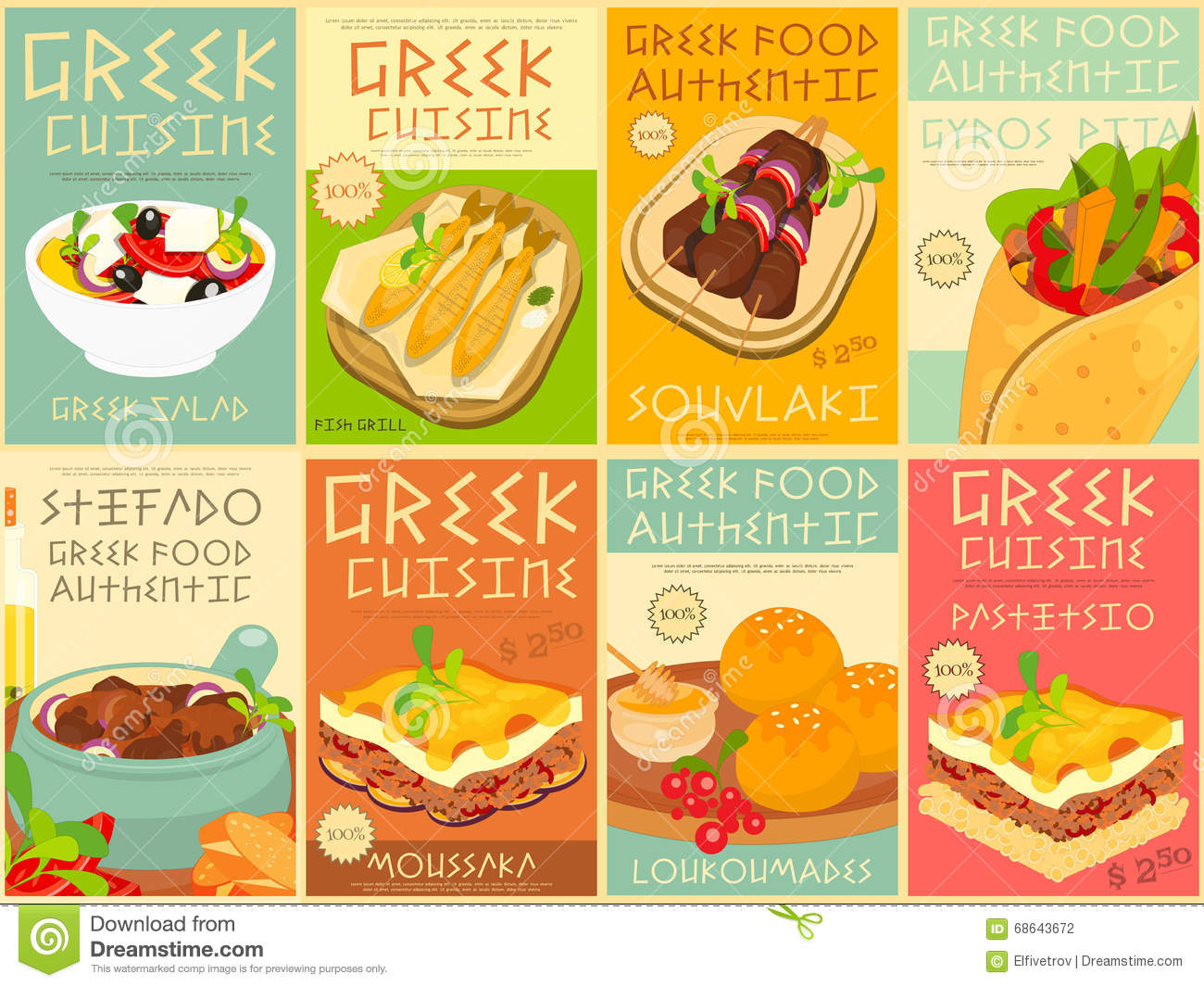 greek food posters set stock vector illustration of feta