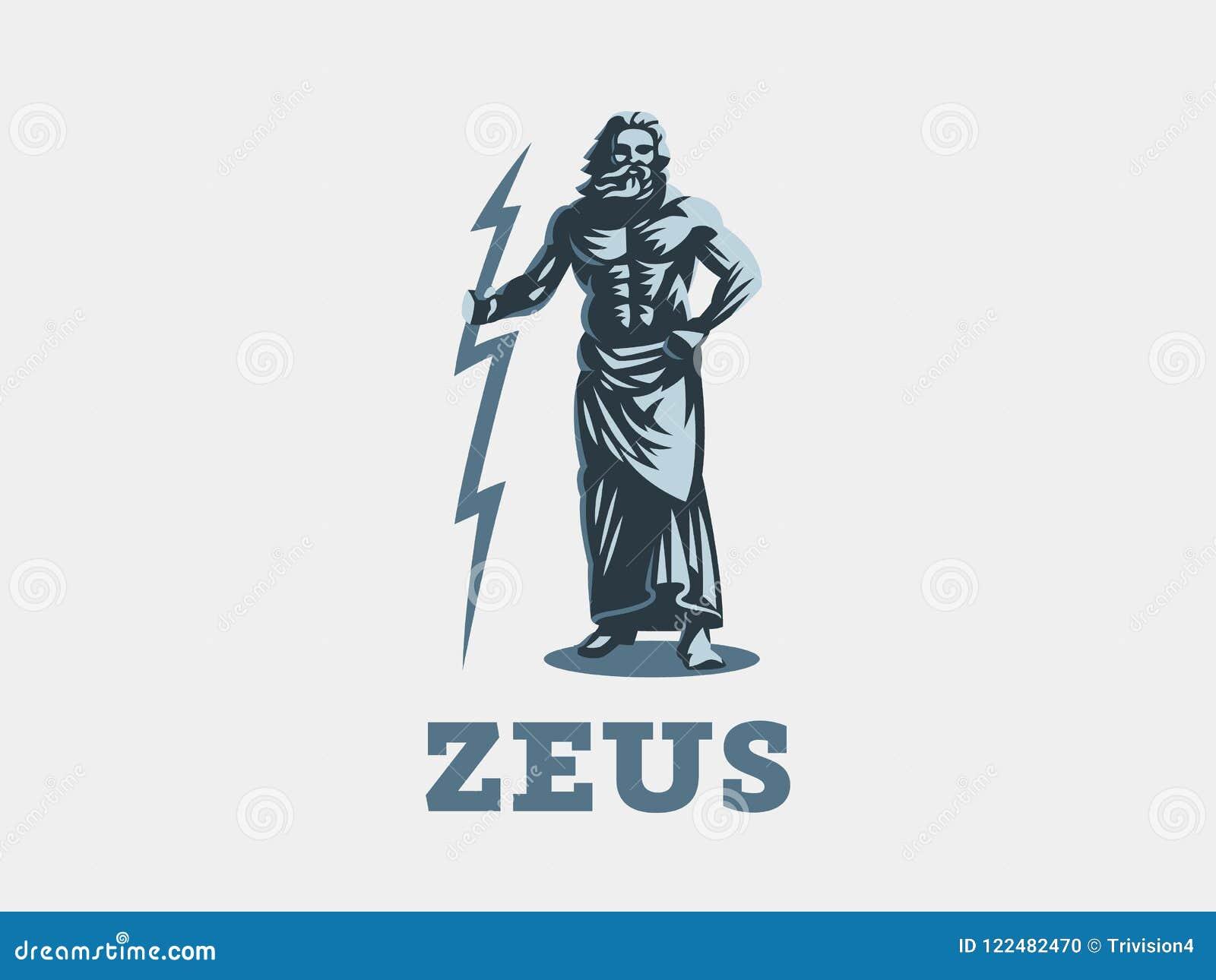 The Greek God Zeus Zeus Stands With Lightning In His Hands Stock