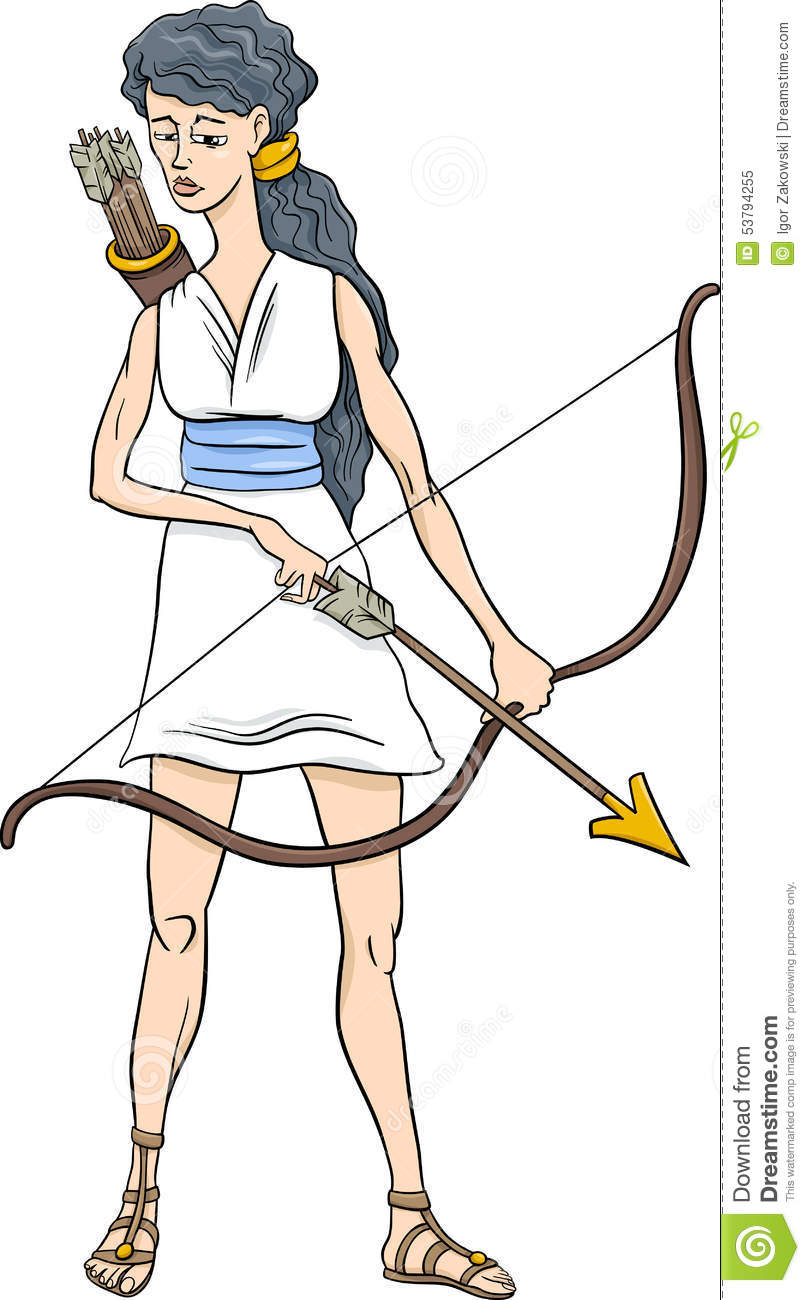 Famous Line Of Artemis : Olympians cartoons illustrations vector stock images