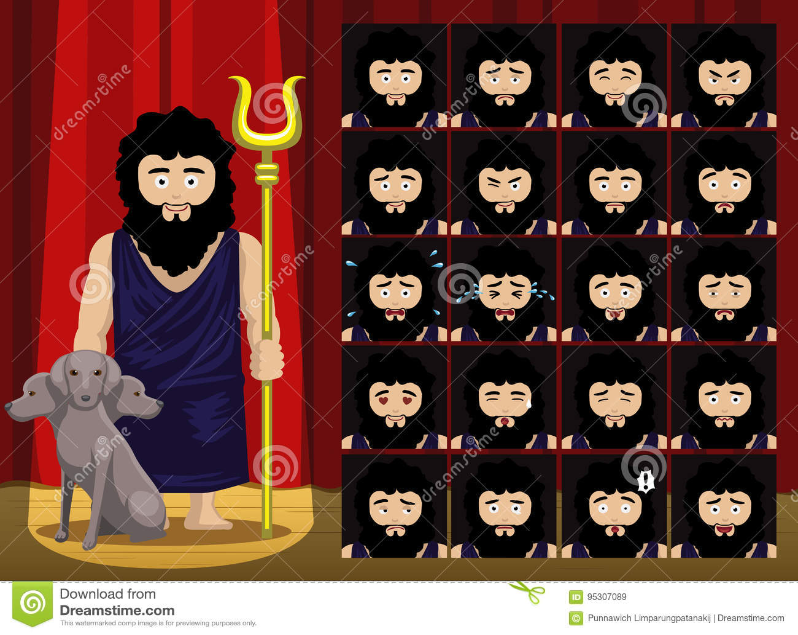 greek gods hades costume cartoon emotion faces vector illustration