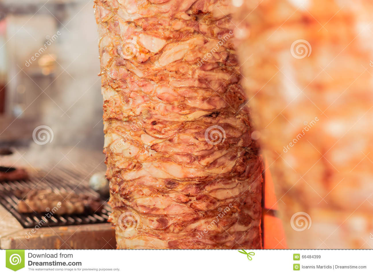 Greek gyros, meat  stock image  Image of meal, lunch - 66484399