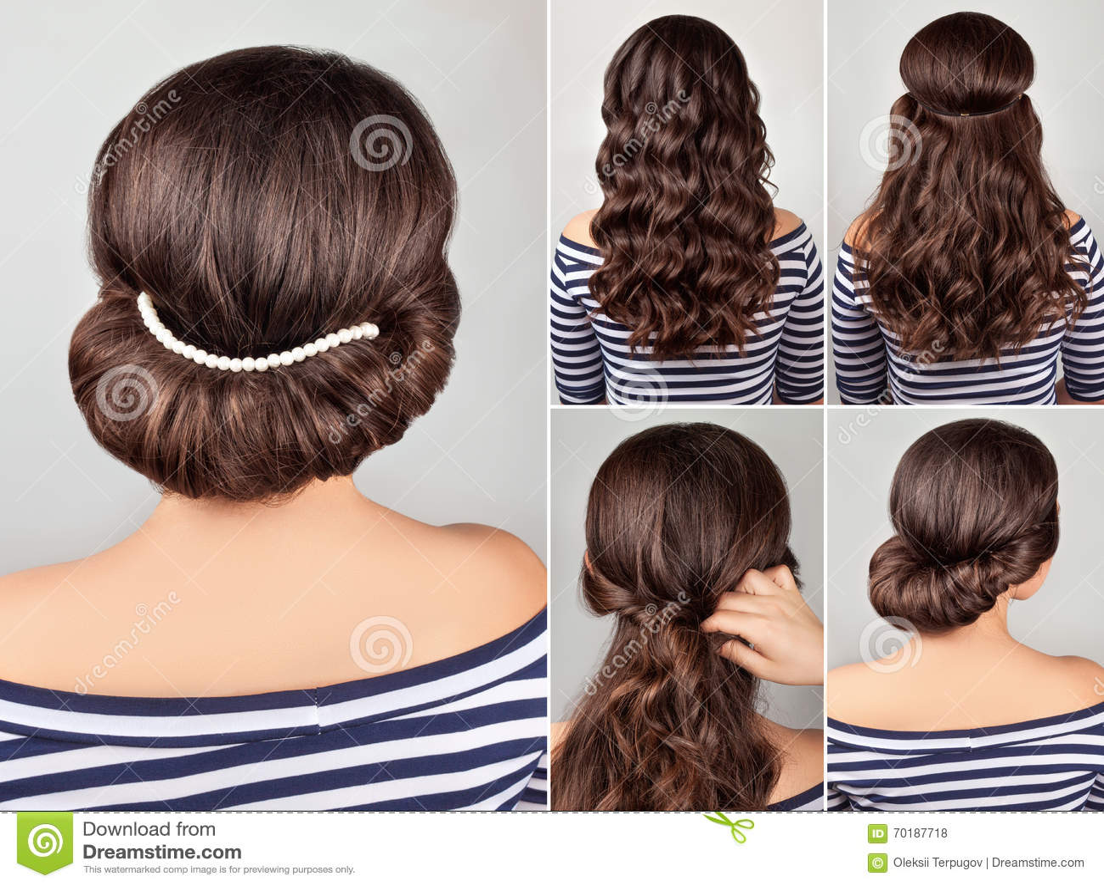 Greek Hairstyle Tutorial Stock Photo Image Of Fashion 70187718