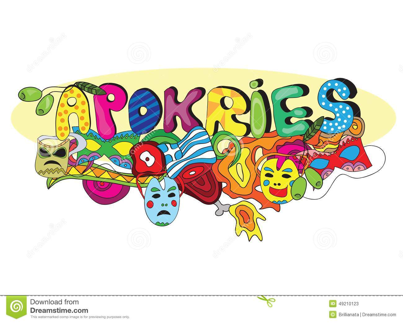 Greek Holiday Apokries In Doodle Style Stock Vector