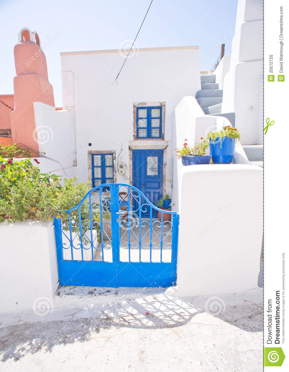 Greek house in blue and white stock photo image 20572720 for Blue and white house