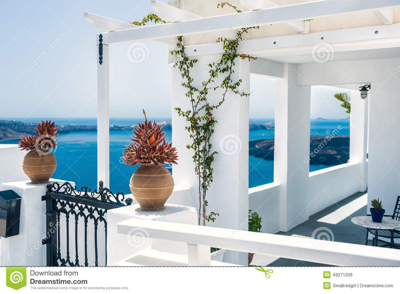 Greek House With Terrace And Sea View Stock Photo Image