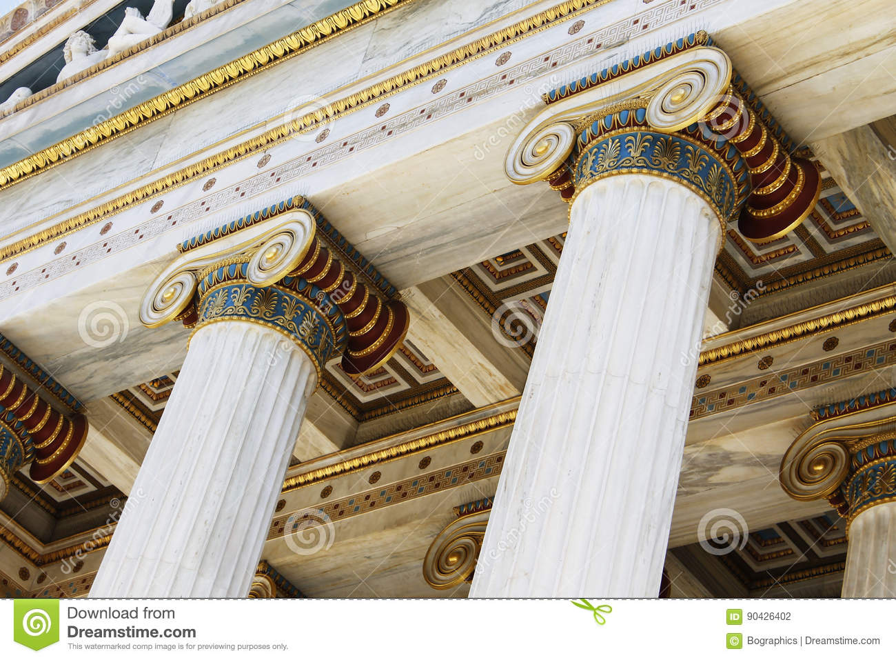 Greek ionic columns and ceiling