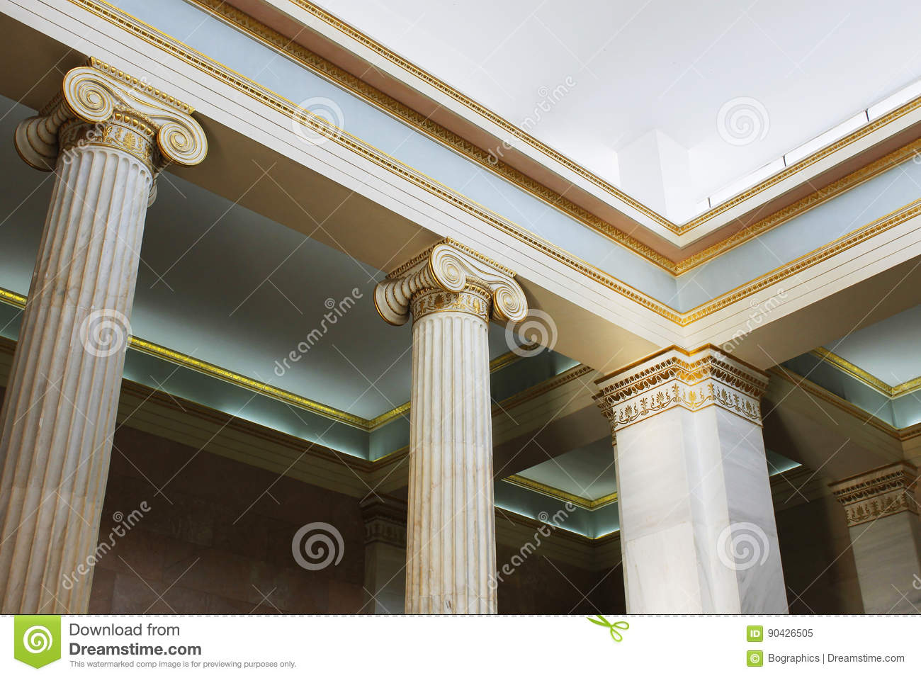 Greek ionic columns and ceiling inside museum