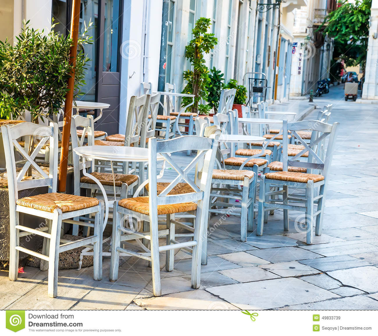 Greek island restaurants stock photo image