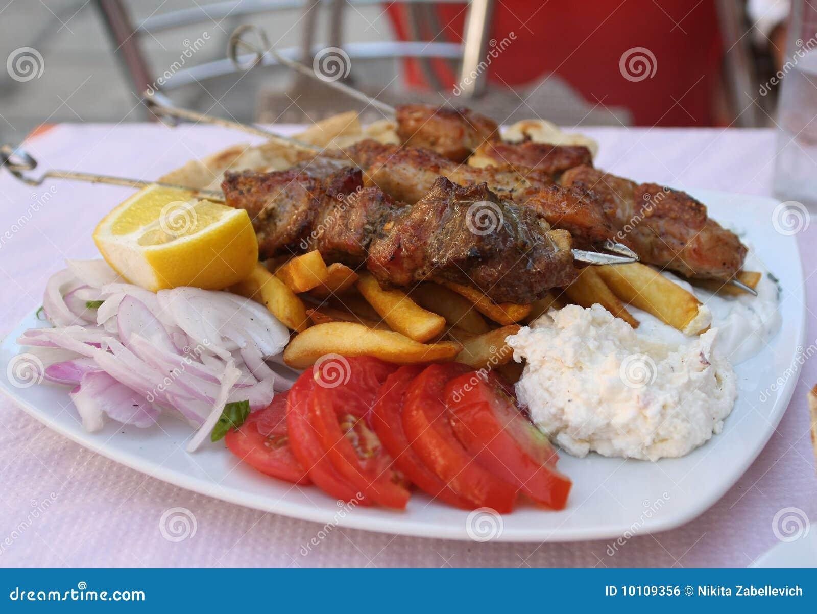 Greek meal pork souvlaki