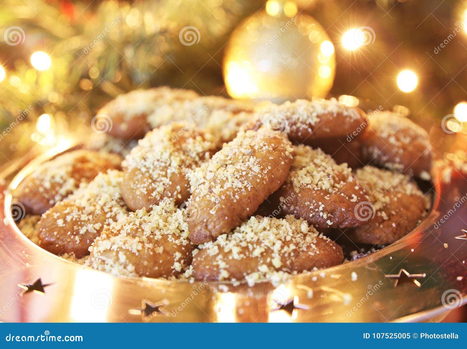 greek melomakarona traditional christmas cookies with honey and nuts - Greek Christmas Traditions
