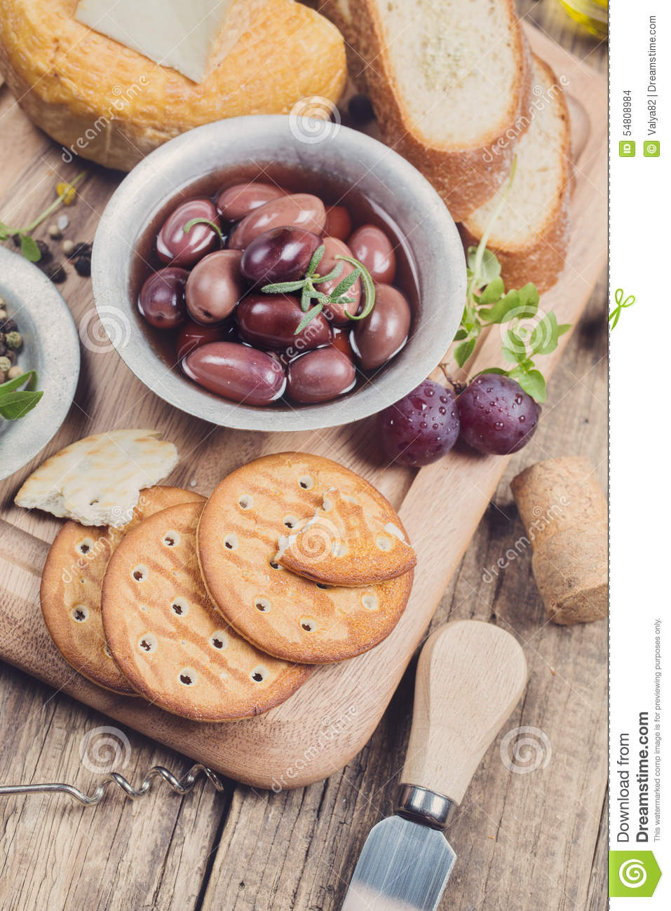 Greek olives, cheese and extra virgin Olive oil