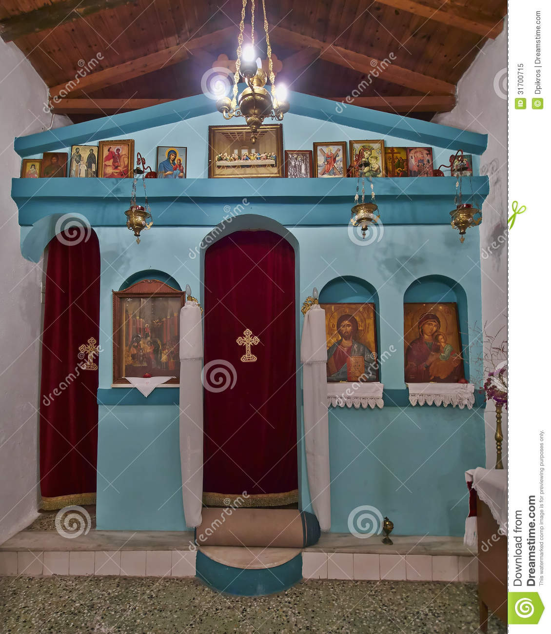 Greek Orthodox Small Church Interior Royalty Free Stock Photo - Image ...