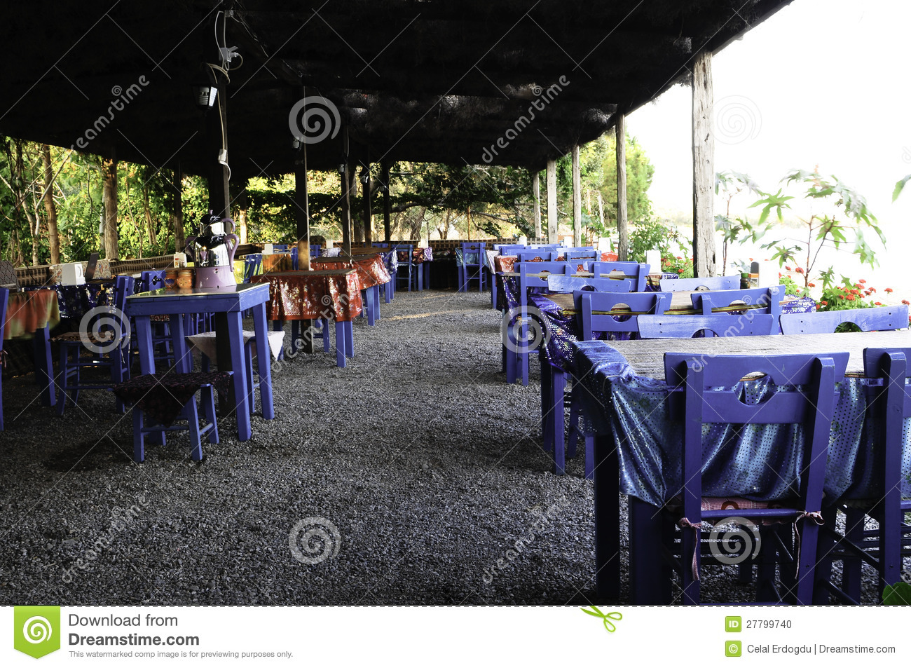 Greek restaurant stock photo image