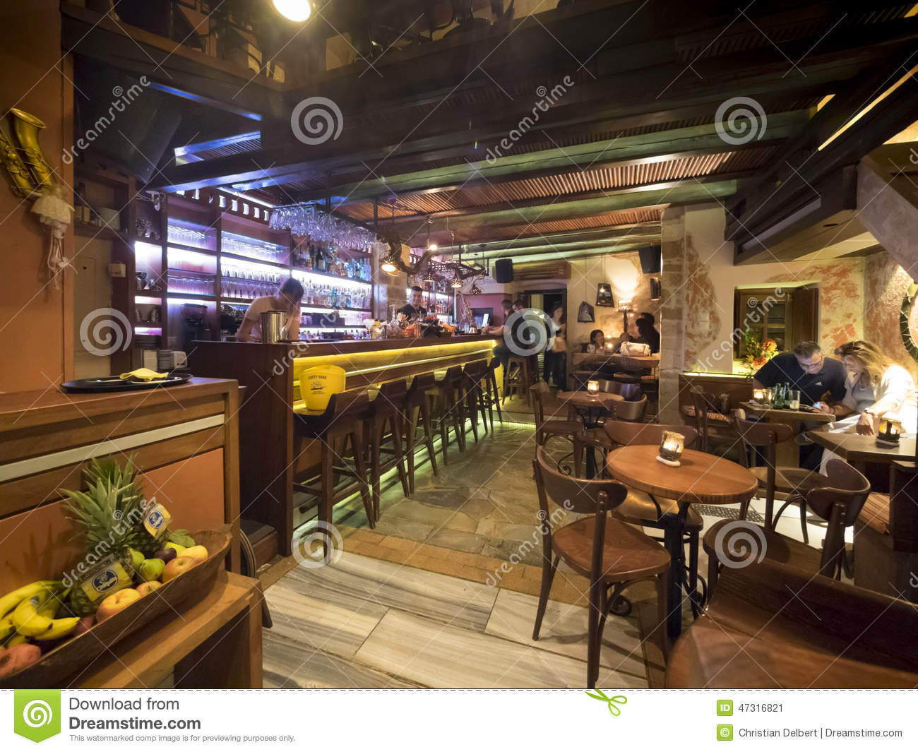 Greek restaurant and bar interior editorial photo image